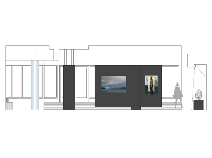 Hayden Beck Art Gallery architecture image of main entrance rendering by Michel Laflamme Architect
