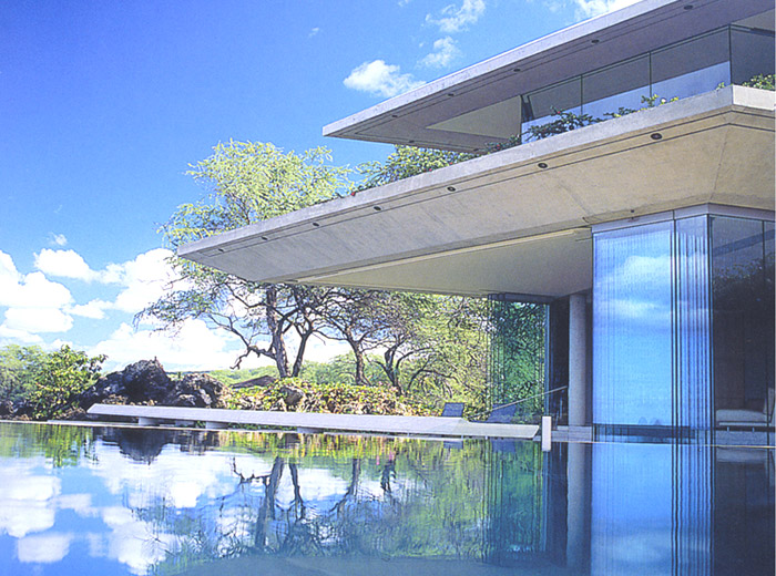 Makena House modern architecture infinity pool with concrete corner detail