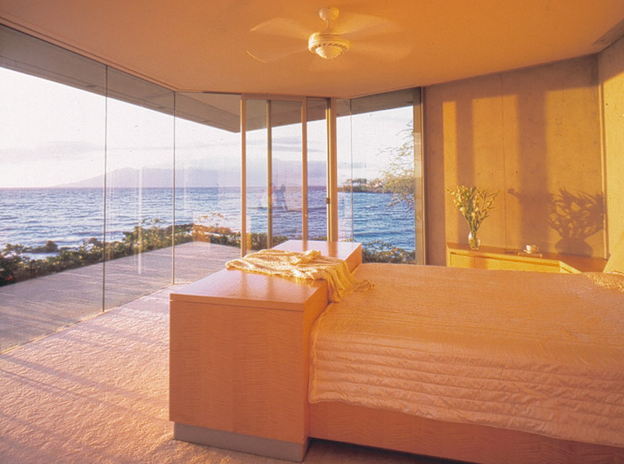 Makena House custom architecture bedroom with glass wall and view