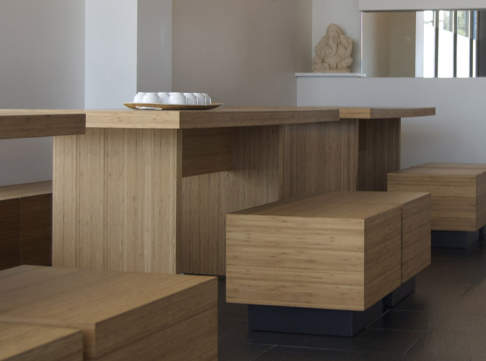 Yyoga Richmond yoga studio contemporary architecture relaxing room table and benches